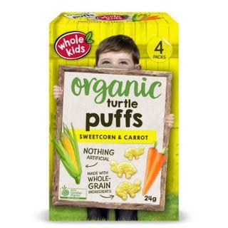 Organic Turtle Puffs - Sweetcorn & Carrot 4pk Mult