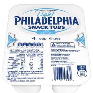 Cream Cheese Lite (32x34gm) Snack Tubs
