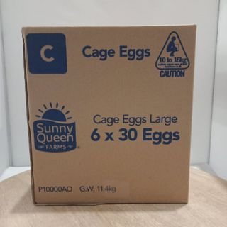 EGGS LARGE CATER PACK TRAYS 9.9KG 180'S