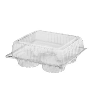 CASTAWAY CONTAINER MUFFIN 4 PACK HINGED LID CLEAR 200S