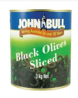 OLIVE BLACK SLICED SPANISH 3KG JOHN BULL