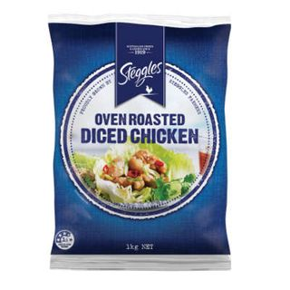 CHICKEN DICED BREAST COOKED 1KG STEGGLES