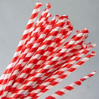 Straws Eco Wrapped Red/White 2000S