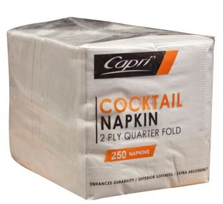 Napkin 2Ply Cocktail Whte Sleeve 250 Capri
