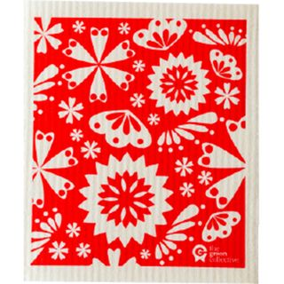 SPRUCE DISH CLOTH - RED FLOWER