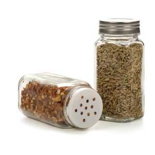 "RSVP CLEAR GLASS SPICE BOTTLE 4"" S/S LID"