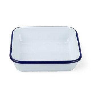 FALCON ENAMEL SQUARE DISH WHT W BLUE RIM