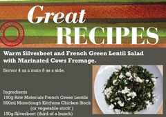 Warm Silverbeet & French Green Lentil Salad