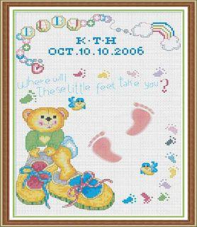 Comp Cross Stitch Kit-Teddy Baby Sampler