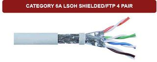 Grey Cat6A Solid SFTP LSZH 4P 23AWG