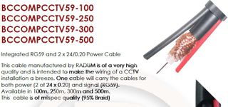 100M RG59 + 2 x 24/0.20 Cable
