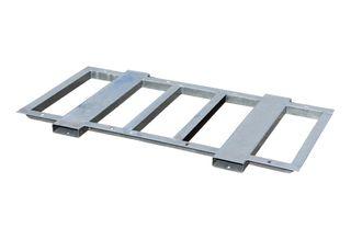 Steel frame with forklift points