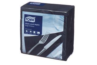 Lunch Napkin Black Tork 2P Quarterfold  Pkt 100