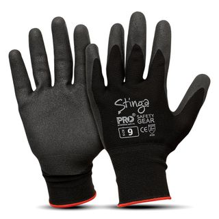 Stinga Black PVC Foam on Nylon Liner Synthetic Gloves Size 9 Pkt