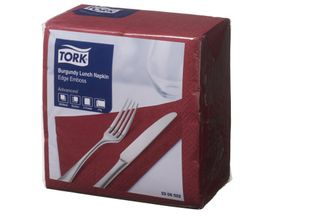 Lunch Napkin Burgundy Tork 2P Quarterfold Pkt 100