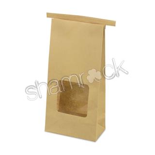 Shamrock Tin Tie Window Bag Brown Medium Ctn 500 255mmx120mm+65mm
