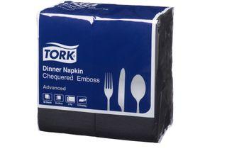 Tork Quilted Emboss GT Fold Dinner Napkin 2 Ply Dark Black Pkt 80