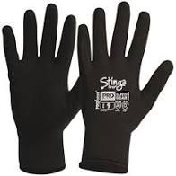 Stinga Black PVC Foam on Nylon Liner Synthetic Gloves Size 8