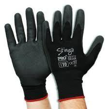 Stinga  Black PVC Foam on Nylon Liner Synthetic Gloves Size 10 Pkt