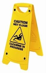 Wet Floor Oates A Frame Cleaning in Progress Sign Yellow IW-101