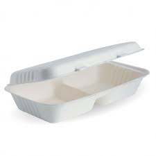 Biopak Cane Clamshell 2-Compartment White Slv 50  28x16x7cm