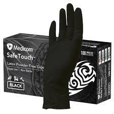 Glove Safetouch Black Latex Medium