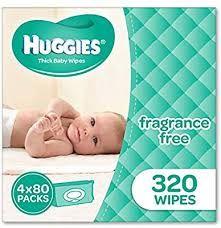 Huggies Baby Wipes Fragrance Free 4 x 80 Packs