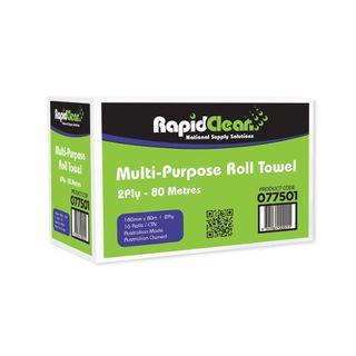 Rapid Clean Multi-Purpose Roll Towel 2ply 80m Ctn 16