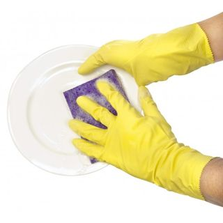 Rubber Glove Flock Lined 8-8.5 Medium Thifty Yellows 12Pk