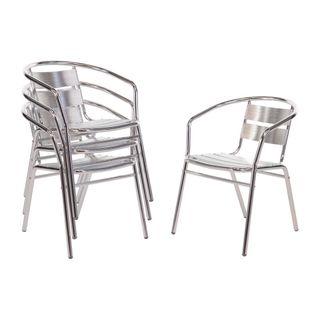 Bolero Aluminium Stacking Chairs 735mm 4 Pack
