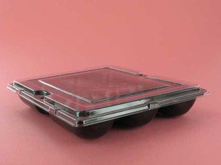 Black Rectangular 6 Pack Oyster Tray Lid (195 x 165) Ctn 1000