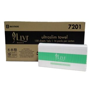 Livi Basics Ultraslim Towel 1 ply 150 sheets Ctn 2400