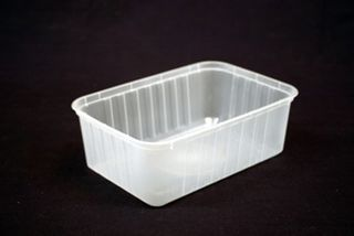 Genfac Ribbed Container Rectangle 1000ml Slv 50