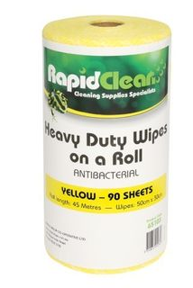 Wipe Rapid Clean Heavy Duty Wipes Yellow Roll 90