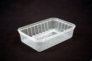 Genfac Ribbed Container Rectangle 680ml Slv 50
