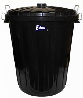 Edco Bin Plastic Black with Handle 73Lt