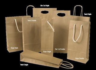 Bottle Bag Single - White Rope Handle - Ctn 120