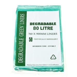 Garbage Bag 80L Degradable Green Ctn 250