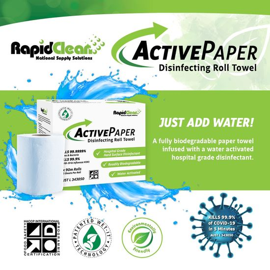 RapidClean ActivePaper Disinfectant Roll Towel