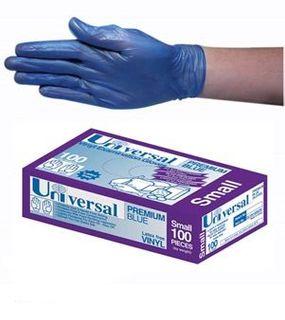 Univ Low-Pwd Blue Vinyl Gloves Small