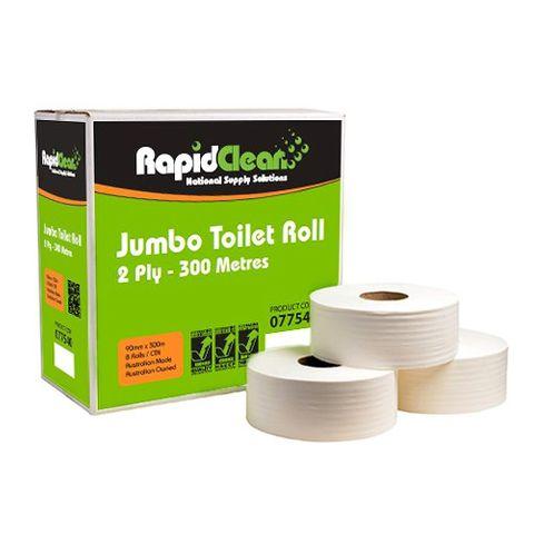 Rapid 300 Jumbo Toilet Roll 2ply Ctn 8