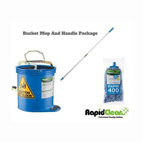 Rapid Blue Mop,Handle,Bucket Pkg
