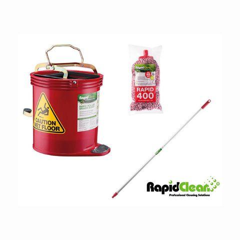 Rapid Red Mop,Handle,Bucket Pkg