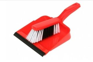 Edco Dust Pan & Brush Set Red only