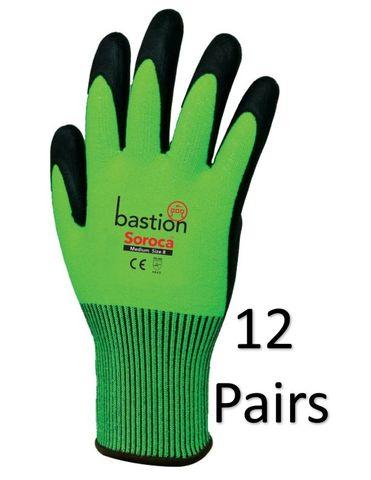 Soroca Cut 5 12 PAIRS Green Gloves-XLarg