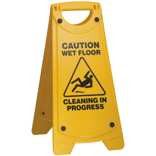 """OATES NON SLIP """"A"""" FRAME CAUTION WET FLOOR SIGN - YELLOW"""