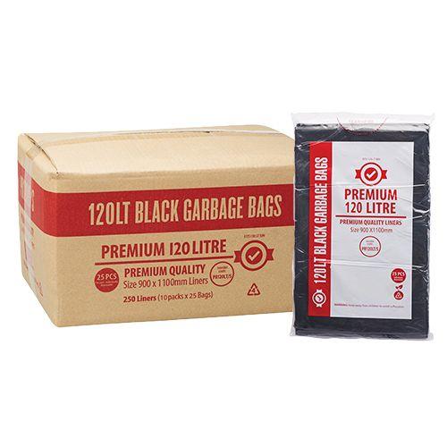 120 LITRE PREMIUM BLACK GARBAGE BAGS