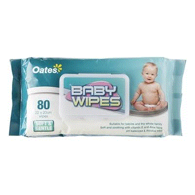 OATES BABY WIPES - 80 PACK