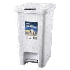 OATES PUSH/PEDAL BIN WHITE 30LT