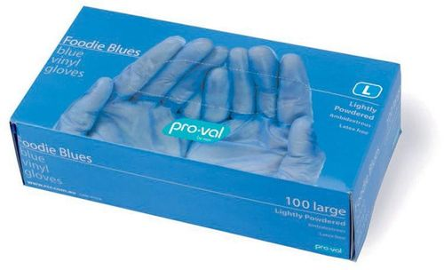 FOODIE BLUE LIGHTLY POWDERED VINYL GLOVES - SMALL